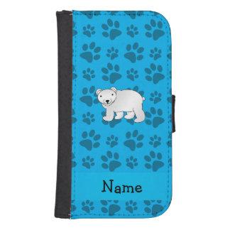 Personalized name polar bear blue paw pattern samsung s4 wallet case