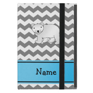 Personalized name polar bear grey white chevrons case for iPad mini
