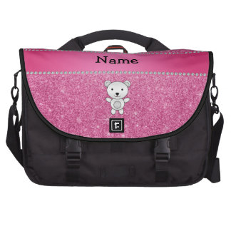 Personalized name polar bear pink glitter laptop bags