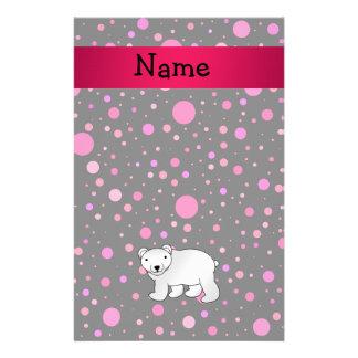 Personalized name polar bear pink polka dots stationery design