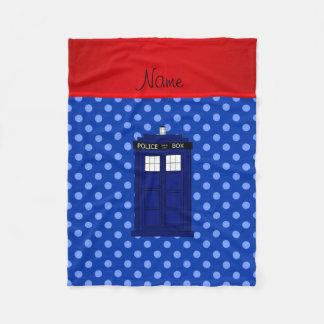 Personalized name police box blue polka dots fleece blanket
