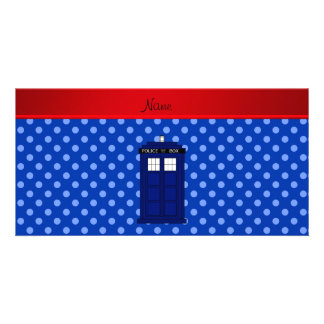 Personalized name police box blue polka dots photo card template