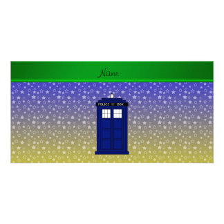 Personalized name police box blue yellow stars picture card