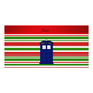 Personalized name police box red green stripes custom photo card