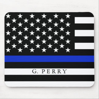 Personalized Name Police Flag Mouse Pad
