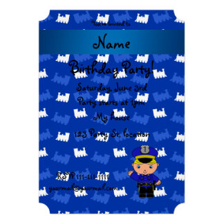 Personalized name policeman blue trains announcement