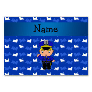 Personalized name policeman blue trains table cards