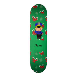 Personalized name policeman green candy canes bows 20 cm skateboard deck