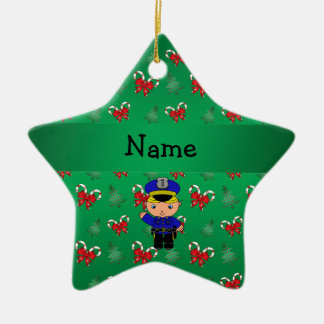 Personalized name policeman green candy canes bows ceramic ornament