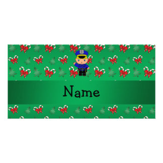 Personalized name policeman green candy canes bows photo greeting card