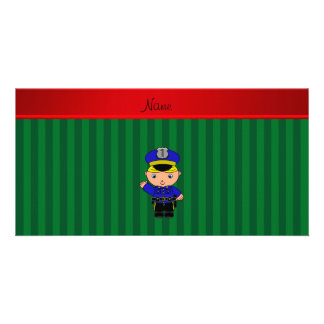 Personalized name policeman green stripes photo card