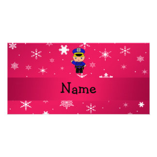 Personalized name policeman pink snowflakes photo card template