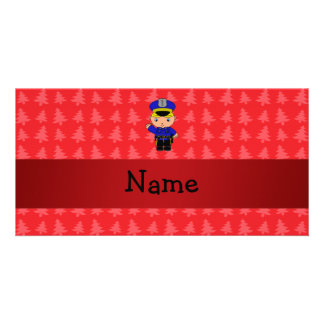 Personalized name policeman red christmas trees personalised photo card