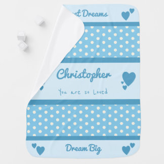 Personalized name polka dots blue baby baby blanket