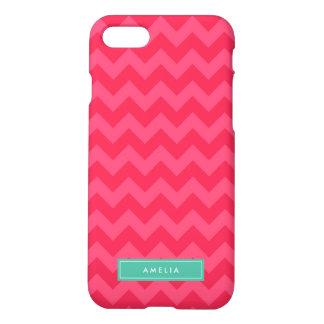 Personalized Name Preppy Pink Chevron Monogram iPhone 7 Case