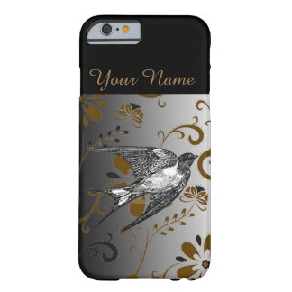 Personalized Name Pretty Floral Bird Iphone Case