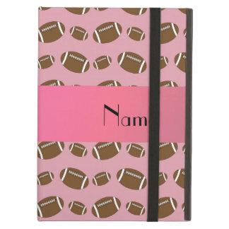 Personalized name pretty pink footballs iPad folio cases