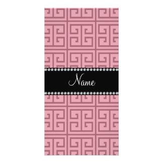 Personalized name pretty pink greek key pattern customized photo card