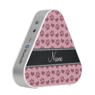 Personalized name pretty pink hearts and paw print