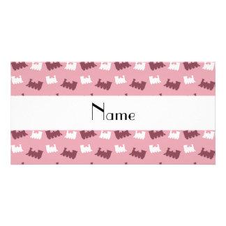Personalized name pretty pink train pattern customized photo card