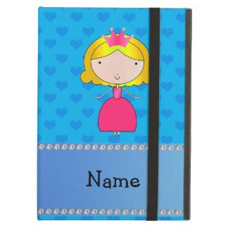 Personalized name princess blue hearts iPad air case