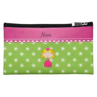 Personalized name princess green flowers cosmetic bags