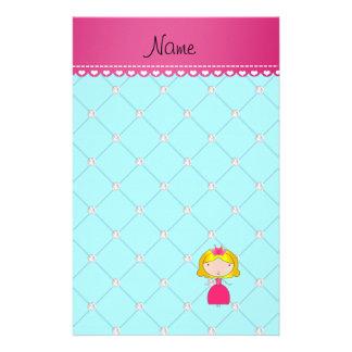 Personalized name princess light blue diamonds stationery paper