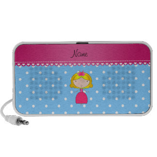 Personalized name princess light blue polka dots iPhone speakers
