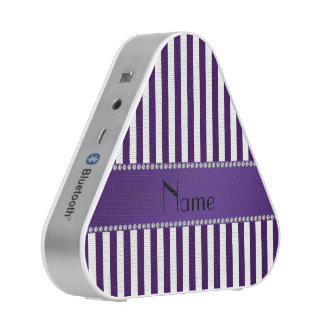 Personalized name purple and white stripes