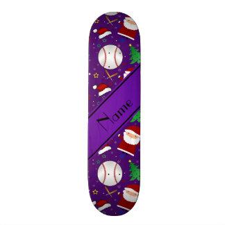 Personalized name purple baseball christmas skate decks