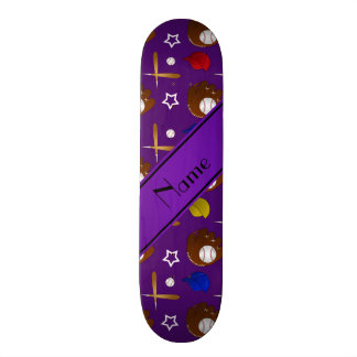 Personalized name purple baseball glove hats balls custom skateboard