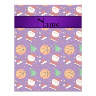 Personalized name purple basketball christmas flyers