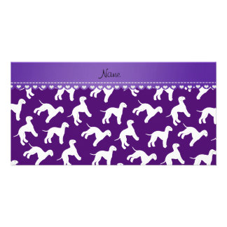 Personalized name purple bedlington terrier dogs personalized photo card
