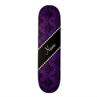 Personalized name Purple black damask Skate Boards