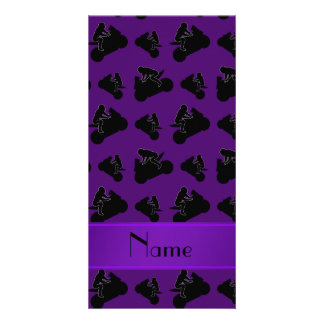 Personalized name purple black motorcycle racing picture card