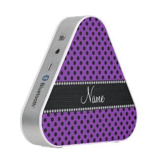 Personalized name purple black polka dots bluetooth speaker