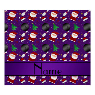 Personalized name purple bowling christmas pattern poster
