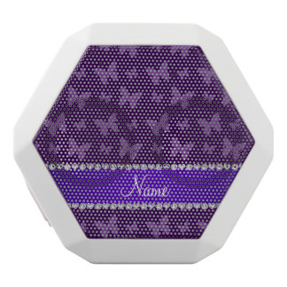 Personalized name purple butterflies white boombot rex bluetooth speaker