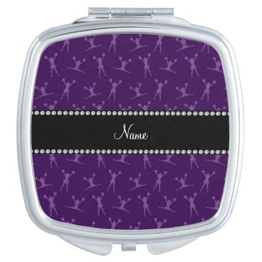 Personalized name purple cheerleader pattern travel mirrors