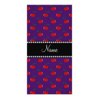 Personalized name purple cherry pattern photo card