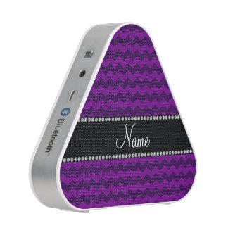 Personalized name purple chevrons speaker
