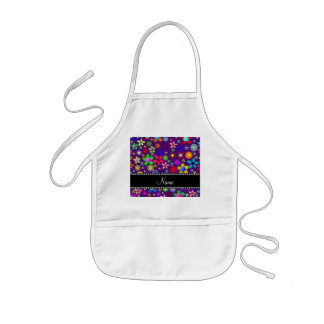 Personalized name purple colorful retro flowers aprons