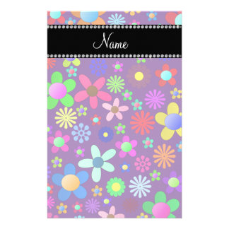 Personalized name purple colorful retro flowers stationery paper