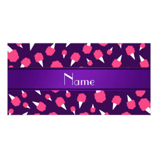 Personalized name purple cotton candy photo cards