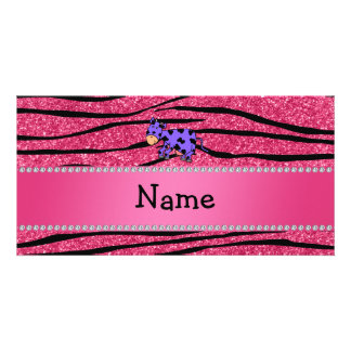 Personalized name purple cow pink zebra stripes picture card