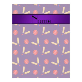 Personalized name purple cricket pattern 21.5 cm x 28 cm flyer