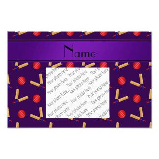 Personalized name purple cricket pattern art photo