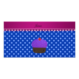 Personalized name purple cupcake blue polka dots customised photo card