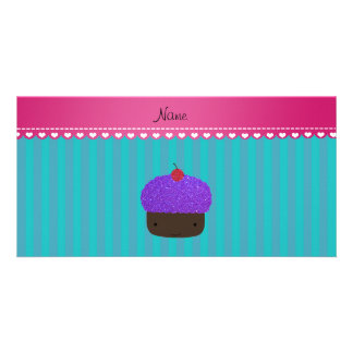 Personalized name purple cupcake turquoise stripes personalized photo card