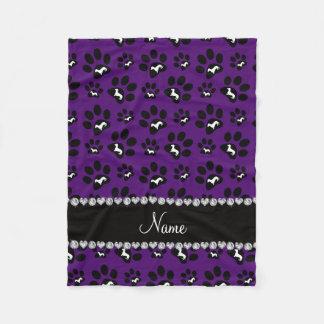 Personalized name purple dachshunds dog paws fleece blanket